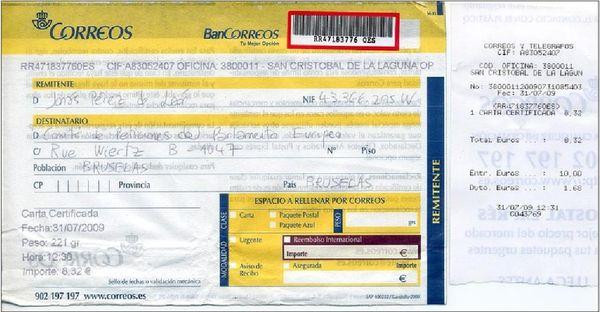 Comprobante del envío de la Petición por correos