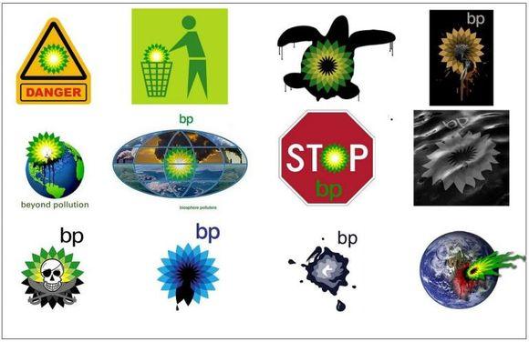 Los nuevos logotipos de la British Petroleum (desde el derrame de crudo)