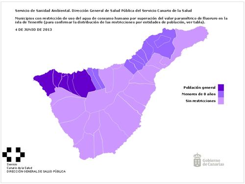 Mapa de restricciones de uso de agua potable por incumplimientos de los criterios de calida (municipios de Tenerife)