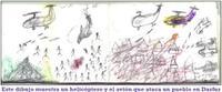 Este dibujo muestra un helicóptero y el avión que ataca un pueblo en Darfur. Clic para ampliar [+]
