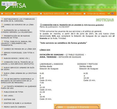 Página WEB de TITSA, con una frecuencia que no están cumpliendo