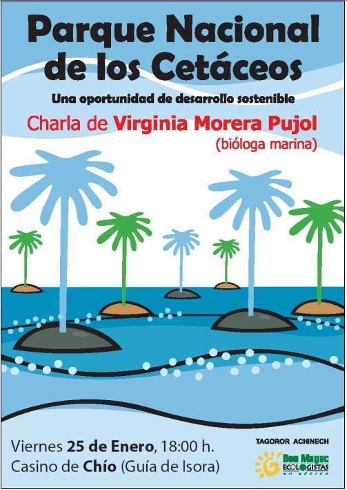 Virginia Morera Pujol, impartirá una charla sobre una oportunidad de desarrollos sostenible: la creación de un parque natural de cetáceos