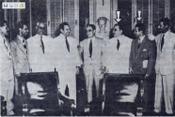 Líderes de la Central de Trabajadores se plegan al dictador. Con flechas Ángel Cofiño y Eusebio Mujal