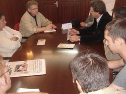 La dirección de Intersindical Canaria, durante el encuentro con los candidatos de IUC