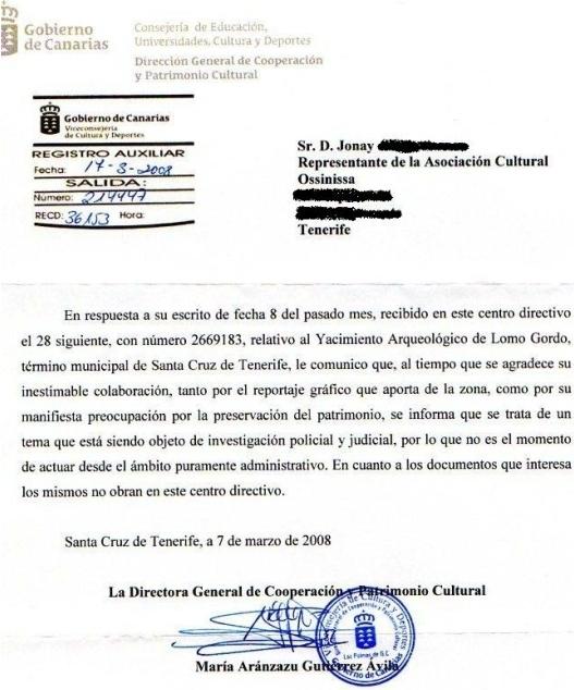 Respuesta Gobierno de Canarias