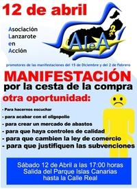 Manifestación contra la carestía de la vida de Lanzarote (Clic para ampliar)