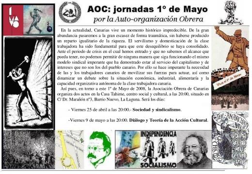 AOC: jornadas 1º de Mayo, por la auto-organización obrera