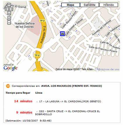 Información en la WEB de TITSA sobre una parada concreta